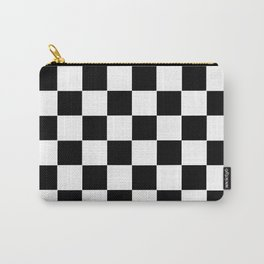Checker Cross Squares Black & White Carry-All Pouch