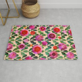 Bright Blooms Modern Hand-Print Floral Rug