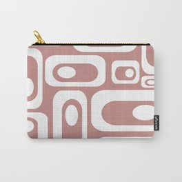Atomic Age Pod Pattern in White and 50s Pink. Minimalist Monochrome Carry-All Pouch