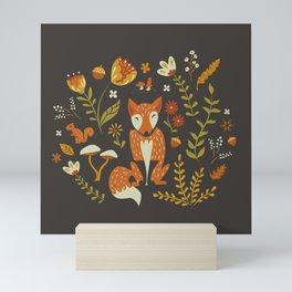 Fox in an Autumn Garden Mini Art Print