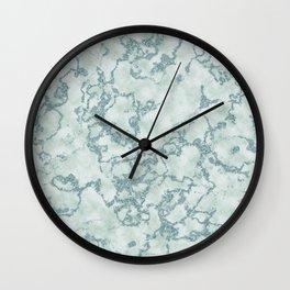 Aqua Blue and Mint Marbled Pattern Wall Clock