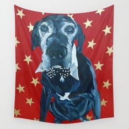 Starry Leonard the Black Lab Dog Portrait Wall Tapestry