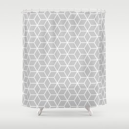 Gasp Gray in Cubes Shower Curtain