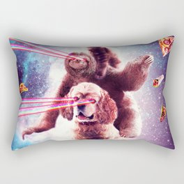 Laser Eyes Space Cat Riding Sloth, Dog - Rainbow Rectangular Pillow