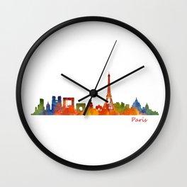 Paris City Skyline Hq v1 Wall Clock