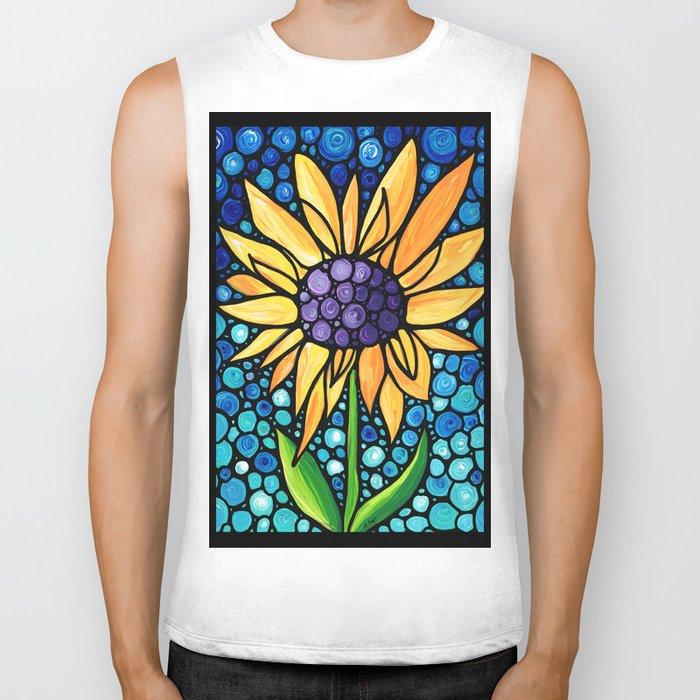 Standing Tall - Sunflower Art By Sharon Cummings Biker Tank