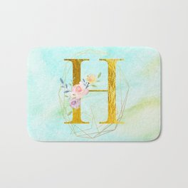 Gold Foil Alphabet Letter H Initials Monogram Frame with a Gold Geometric Wreath Bath Mat