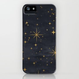 Seamless Pattern Night Sky Gold Stars Magical Mystical Pattern iPhone Case