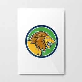 Angry Lion Head Roar Circle Cartoon Metal Print