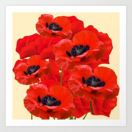 RED ORIENTAL POPPIES ON CREAM COLOR Art Print