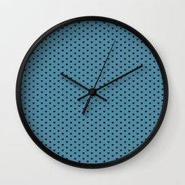Small Black Heart pattern On Blue Background Wall Clock