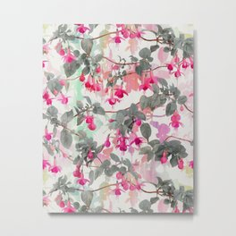 Rainbow Fuchsia Floral Pattern - with grey Metal Print