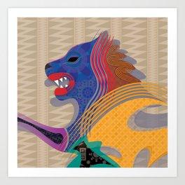 Blind Blue Lion Art Print