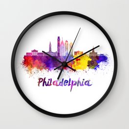 Philadelphia V2 skyline in watercolor Wall Clock