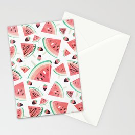 Watermelon popsicles, strawberries and chocolate Stationery Cards