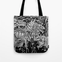 dragons Tote Bags featuring Dragons by Walid Aziz
