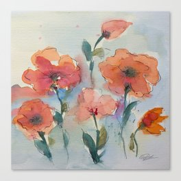 Flowers in watercolor Canvas Print