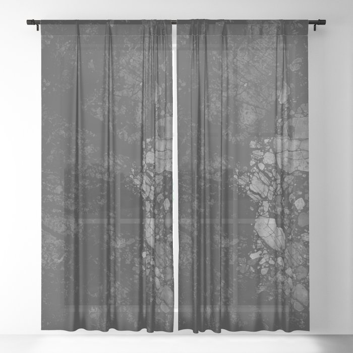 Luxury Black Marble Sheer Curtain