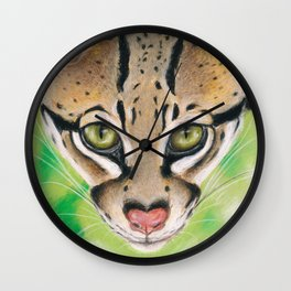 Ocelot Wild Cat Soft Pastel Art Wall Clock