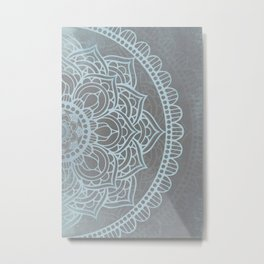 Grey Blue Mandala Metal Print