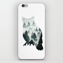 Owl in the Forest Double Exposure Painting iPhone Skin