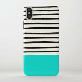 Aqua & Stripes iPhone Case
