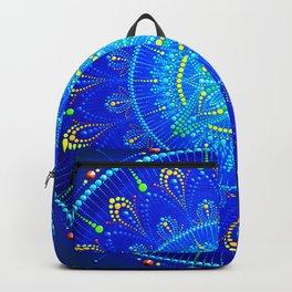 Blue mandala painting on canvas Backpack