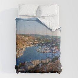 crimea balaklava river boats mountains Comforters