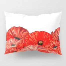 Poppies on White Pillow Sham