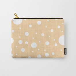 Mixed Polka Dots - White on Sunset Orange Carry-All Pouch