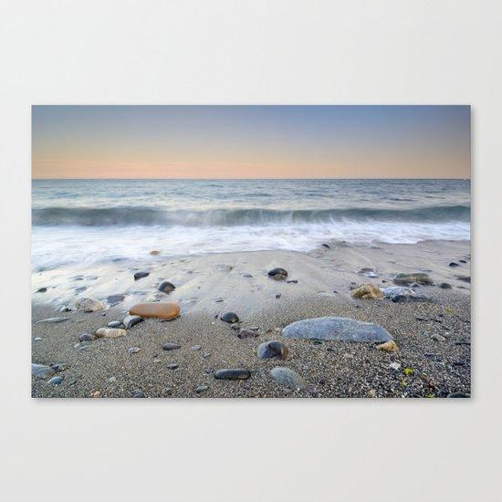 """Mediterranean waves at sunset"". Pink sunset Canvas Print"