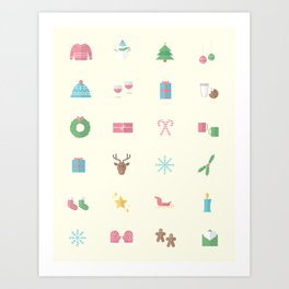 Holiday icons Art Print
