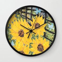 Sunflowers and Butterflies Wall Clock