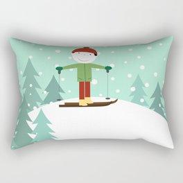Small skier Rectangular Pillow