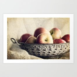 Blue Bowl of Apples Art Print