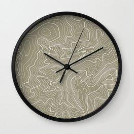 Brown Topo Line Design Wall Clock