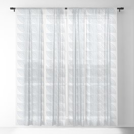 abstract vines pattern in white and a pale icy gray Sheer Curtain