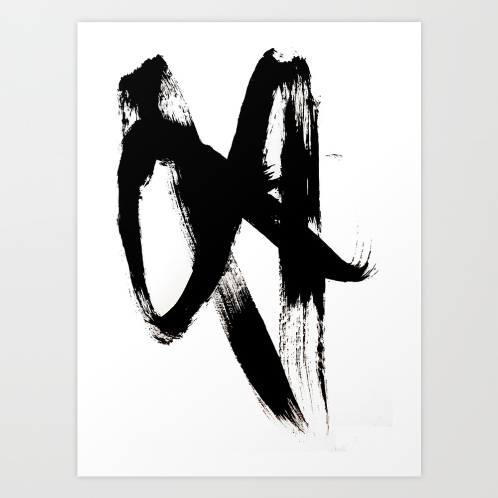 Brushstroke 2 - Simple Black And White Art Print by Blushingbrushstudio