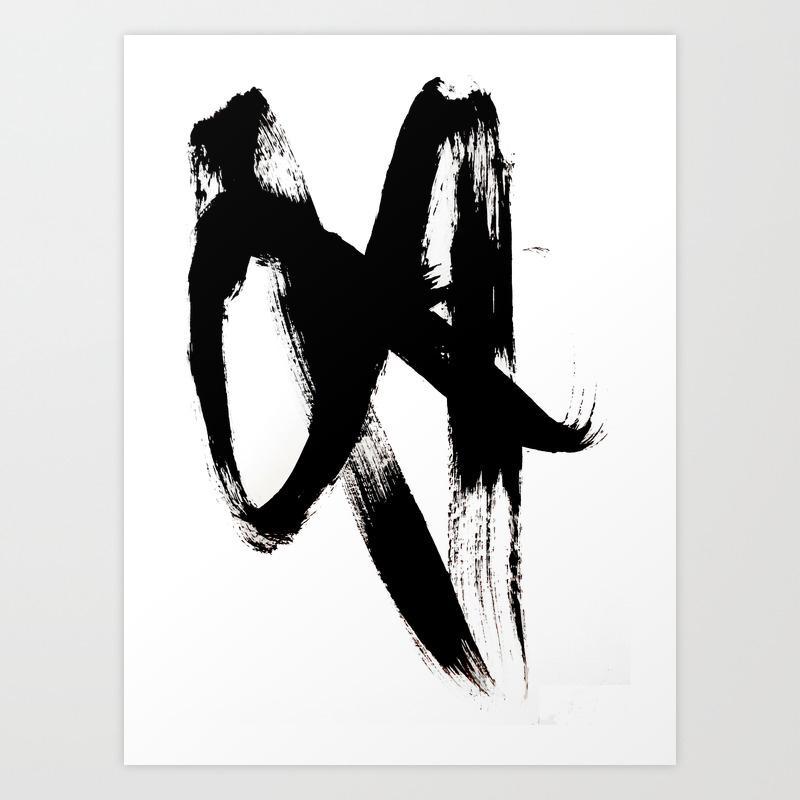 Brushstroke 2 - Simple Black And White Art Print by Blushingbrushstudio