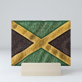 Jamaica Flag Leaf Green Round Fire Paper Work Mini Art Print