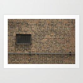 Brick Wall with Conduit and Window Art Print