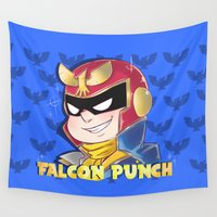 falcon Wall Tapestries featuring Falcon Punch by Angxix