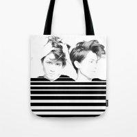 tegan and sara Tote Bags featuring Tegan & Sara by MeMRB