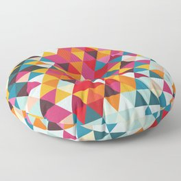 Vintage Summer Color Palette - Hipster Geometric Triangle Pattern Floor Pillow