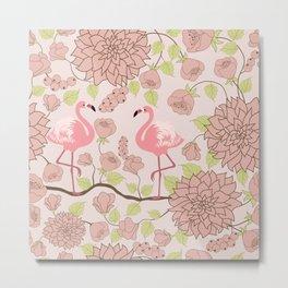 Flamingo Perch Pattern Metal Print