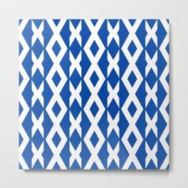 Geometric Game in Blue Metal Print