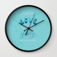 tfios Wall Clocks featuring TFIOS: Fell in Love by Jess Matthews Design