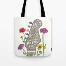 You belong among the wildflowers. Tom Petty quote. Watercolor guitar illustration. Hand lettering. Tote Bag