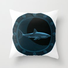 Engraved Shark Throw Pillow