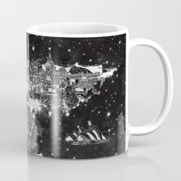 world map galaxy black and white Coffee Mug